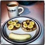 Monday breakfast @ 6:30: Multi-grain English muffin w/ peanut butter and banana.